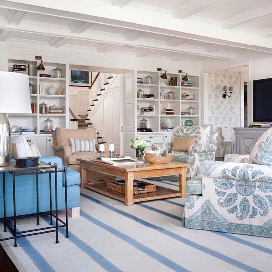 bookshelves, ceiling and upholstered chairs