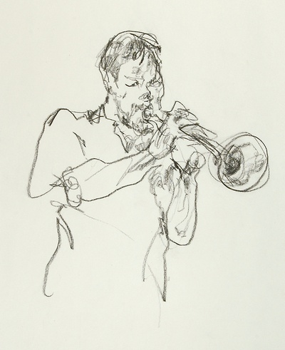 Jazz Musician on the subway platform, NYC. Gregory Muenzen