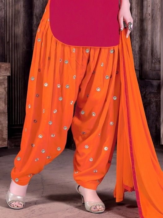 Shop Red orange classy punjabi dress material online from G3fashion India. Brand - G3, Product code - G3-WSS00060, Price - 1495, Color - Orange, Red, Fabric - Cotton,