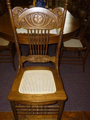 Marvelous Antique Oak Pressed Back Chair Cane Seat Refinished U0026 Restored