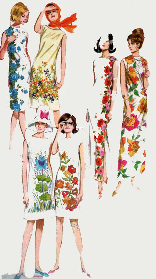 1960s Panel Print Shift Dress Butterick 3079 Beach Dress Knee or Maxi Lengths Vintage MOD Sewing Pattern Size 16 Bust 36 by sandritocat on Etsy