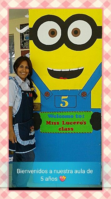 Minion door decoration finished with with welcome sign