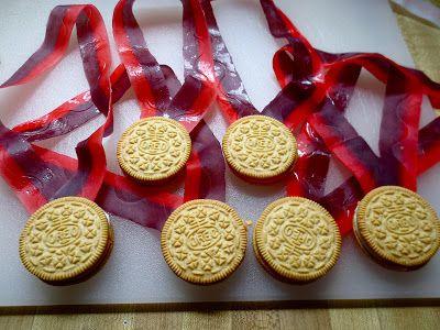 Oreo Olympic medals para cuando ganen un juego en una fiesta /
