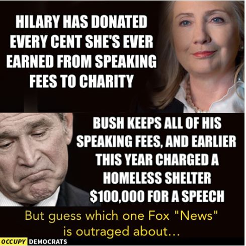 "Latest Screeches From Left: ""Hillary Donates Speaking Fees to Charity; GW Bush Does Not"" » Politichicks.com"
