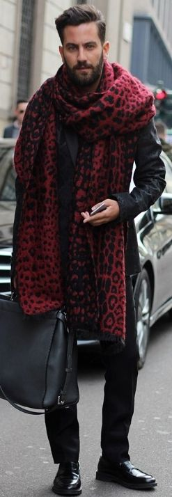 Borrowing from his wardrobe! I want that scarf - it's unisex! …