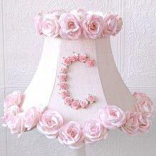 Personalized Monogram Pink Lamp Shade with Roses