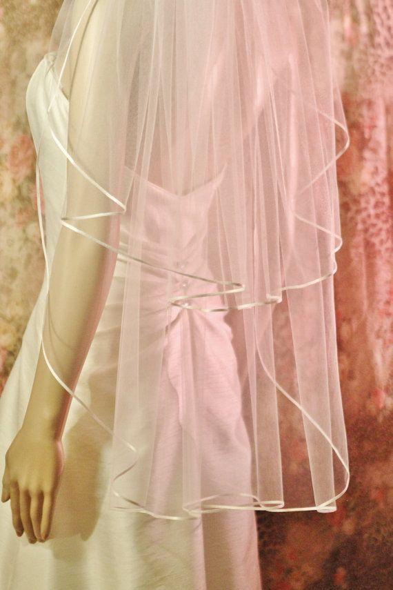FINGERTIP VEIL waltz veil length 2 tier Ribbon by UnderTheVeil