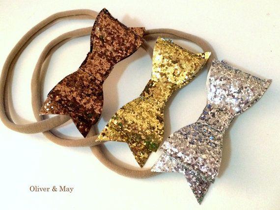 Glitter Bow Headbands You Pick Mocha Champagne by OliverAndMay