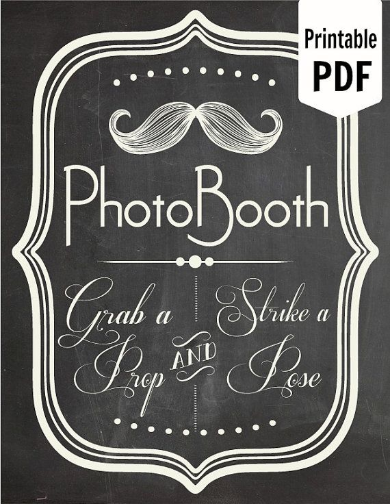 DIY. PRINTABLE PDF. Photo Booth Sign. Photo Booth Prop. Photobooth Prop. Photo Booth.Chalkboard Sign, Wedding Reception. Chalk via Etsy