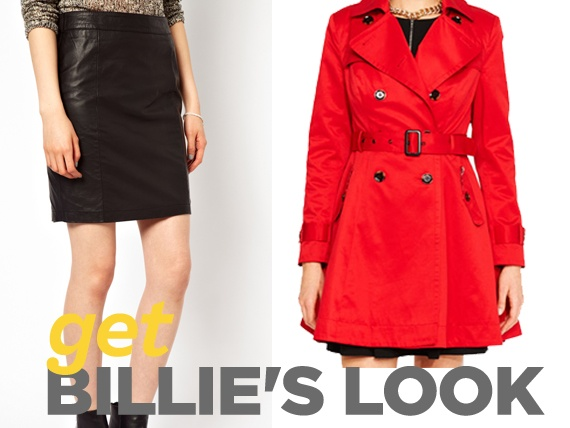 Leather skirt by Vera modo at #Asos and red trench by #Portmans