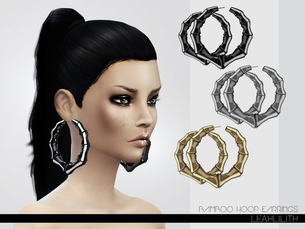 custom bamboo earrings black creatives the sims resource bamboo hoop earrings by leahlillith 6056