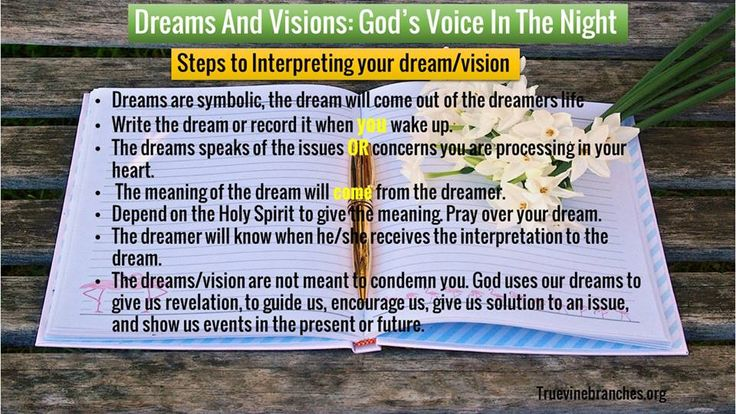 Steps to Interpreting your Dreams and Visions | Biblical Dream Interpretation | Hearing God's Voice \ www.facebook.com/truevinebranchesministries