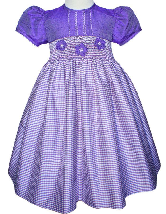 f36418d91 Light purple silk hand smocked flower girl pageant dress 17266 ...