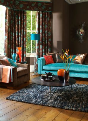 teal couch.