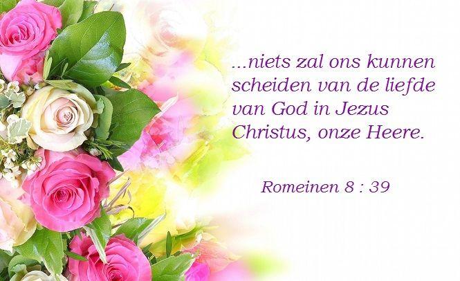 ...niets zal ons kunnen scheiden van de liefde van God in Jezus Christus, onze Heere.  Romeinen 8:39