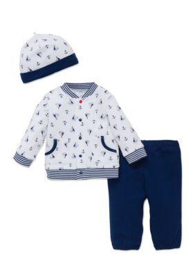 Little Me  3-Piece Nautical Cardigan Hat and Pants Set