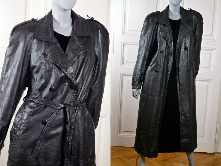 German Vintage Leather Coat, Black Double-Breasted 1980s Long Leather Coat w Padded Shoulders Epaulets, Soft Well-Worn Leather: 14 US, 18 UK http://etsy.me/2AFOWTc #clothing #women #jacket #black #germanvintage #womensleather #leatherjacket #vintageleather #leathercoat