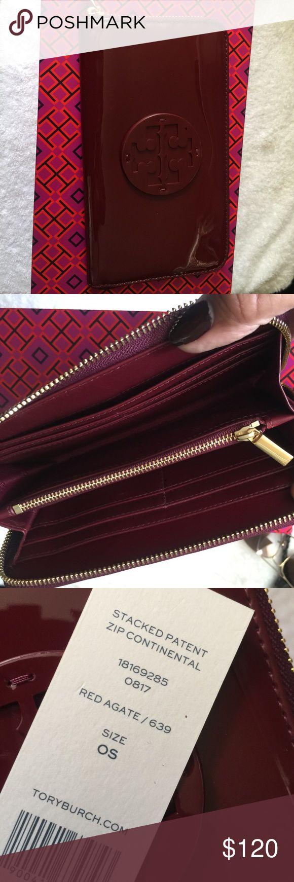 Tory Burch patient leather continental wallet Beautiful brand new Tory Burch continental wallet, the color is oxblood Tory Burch Bags Wallets