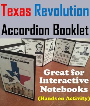 This booklet is a fun hands on activity for students to use in their interactive notebooks. Students may research or show what they have learned by writing different facts on the provided blank lines about the different historical figures and/ or historical events about the Texas Revolution.