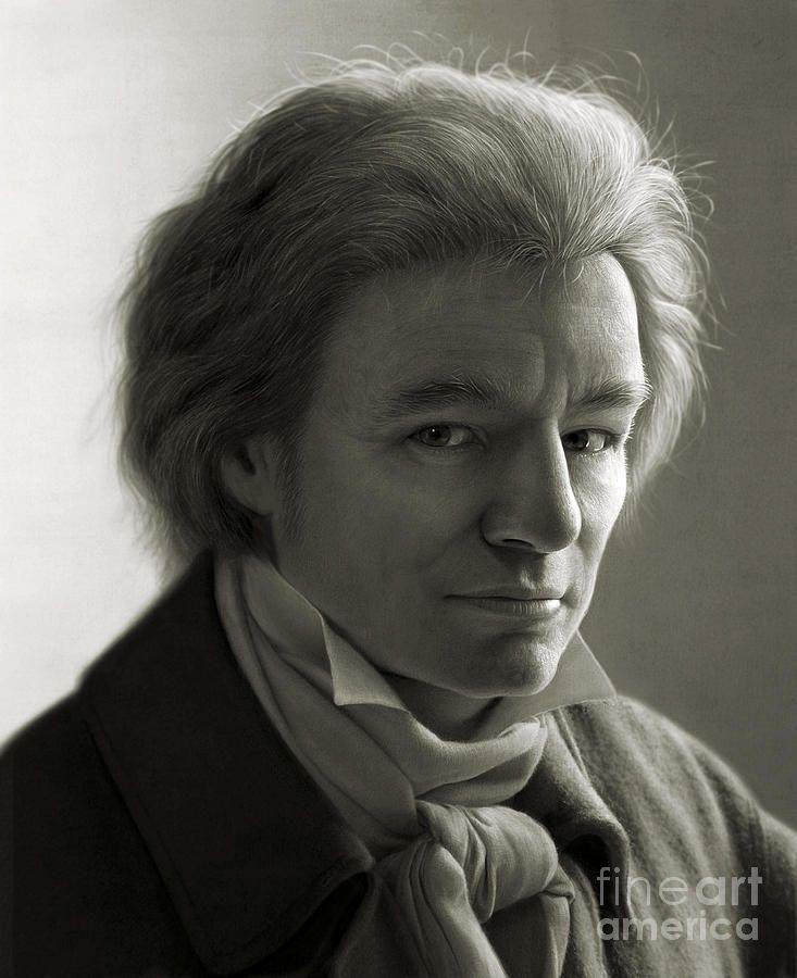 Ludwig Van Beethoven Drawing by Dirk Dzimirsky: photorealism
