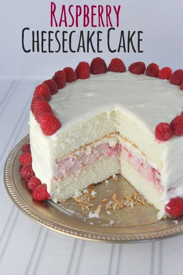 Raspberry Cheesecake Cake #recipe -