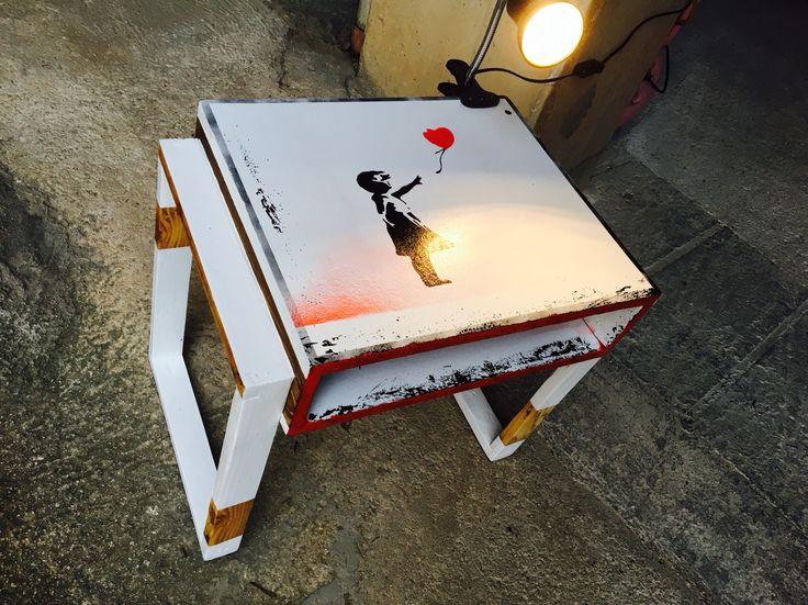 Bedside clip lamp. Banksy stencil