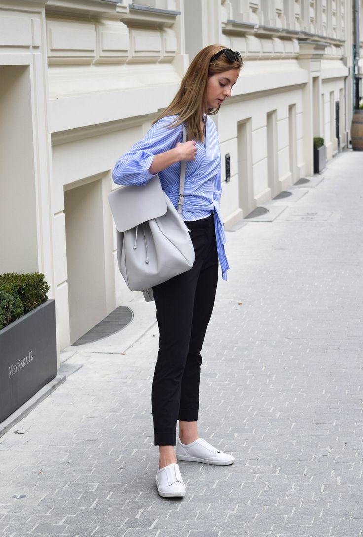 Zara blue kimono shirt, Mango suit pants, white sneakers, Zara bag pack. Sport elegance. Minimalist essentials. More on afnewsletter.com