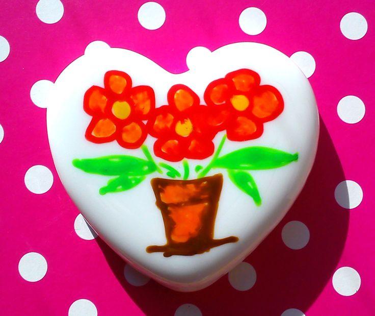 Little Hearts #15: handpainted art on a little white heart by TheBigLittleArtShop on Etsy
