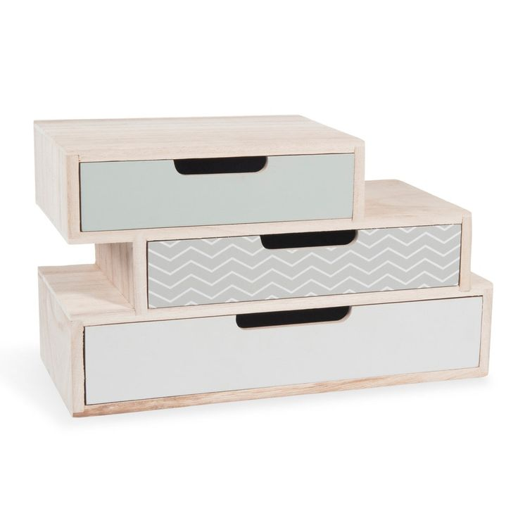 NOLITA wooden box with 3 drawers W 30cm