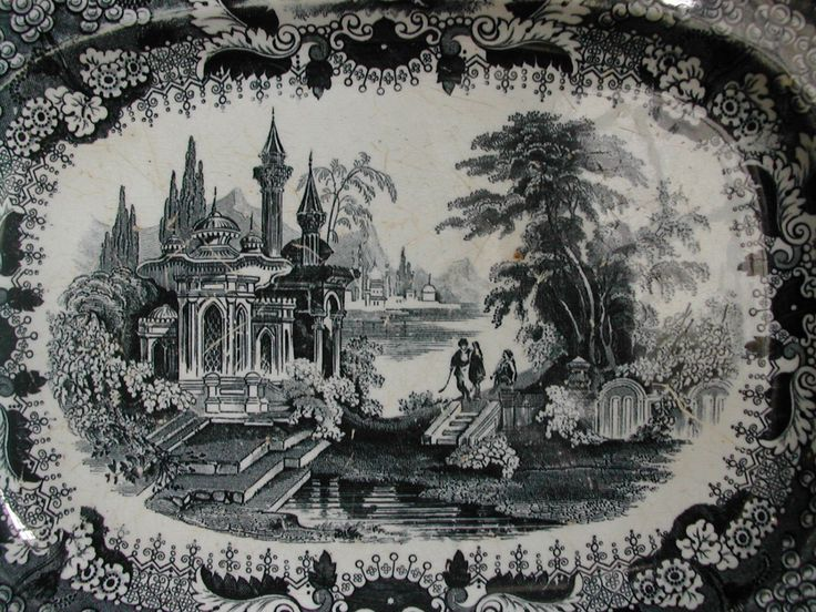 French Antique Dish by David Johnston-Vieillard & Cie, Bordeaux, 1840. Wonderful Condition. Black and White Transfer Ware. Collector piece! by LaPouyette on Etsy https://www.etsy.com/uk/listing/267793685/french-antique-dish-by-david-johnston