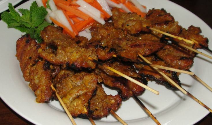 In Vietnam you would find these pork skewers sold at street stands and if you've ever walked by, you'll find it's just impossible to resist this seductive smell. I think this is the most-consumed a...