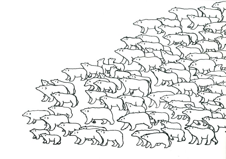 Climate change exodus - or Bear March Quill and ink by Ashya Lane-Spollen