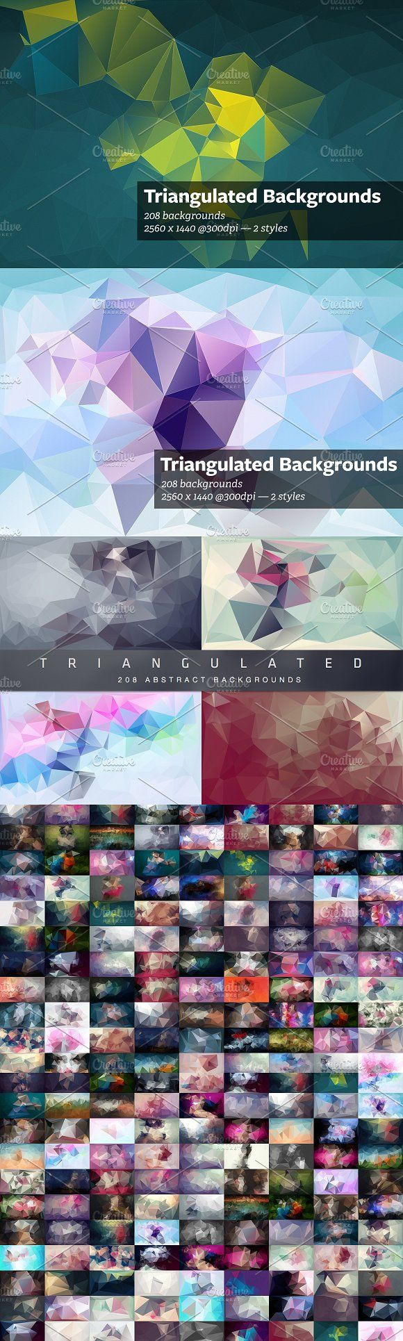 Triangulated - Abstract Backgrounds by beto on @creativemarket