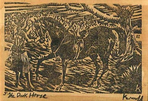 "Harry Kernoff, ""The Dark Horse"" #art #horse #darkhorse #blackandwhite #woodcut #DukeStreetGallery"