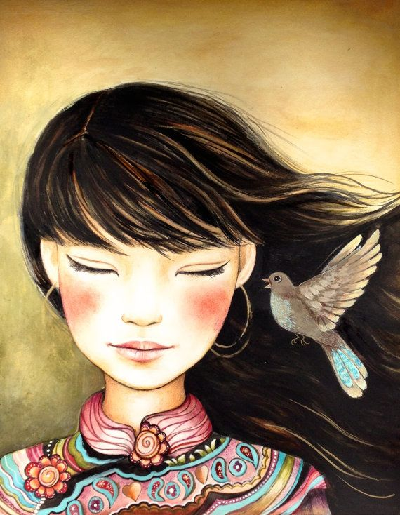 Arte ORIGINAL claudia tremblay escuchar la por claudiatremblay
