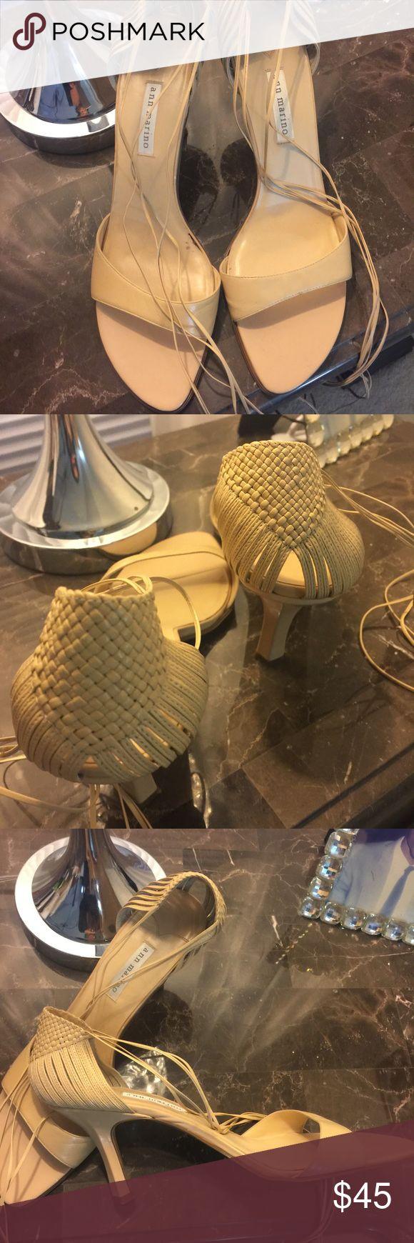 Ann Marino scrappy sandals. Neutral beige Open toe sandals with straps that tie up leg. Ann Marino Shoes Sandals