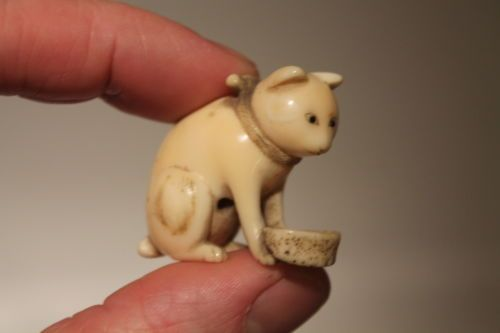 Japanese Antique Meiji Period 1868 1912 Carved Cow Bone Fine Quality Cat Netsuke | eBay