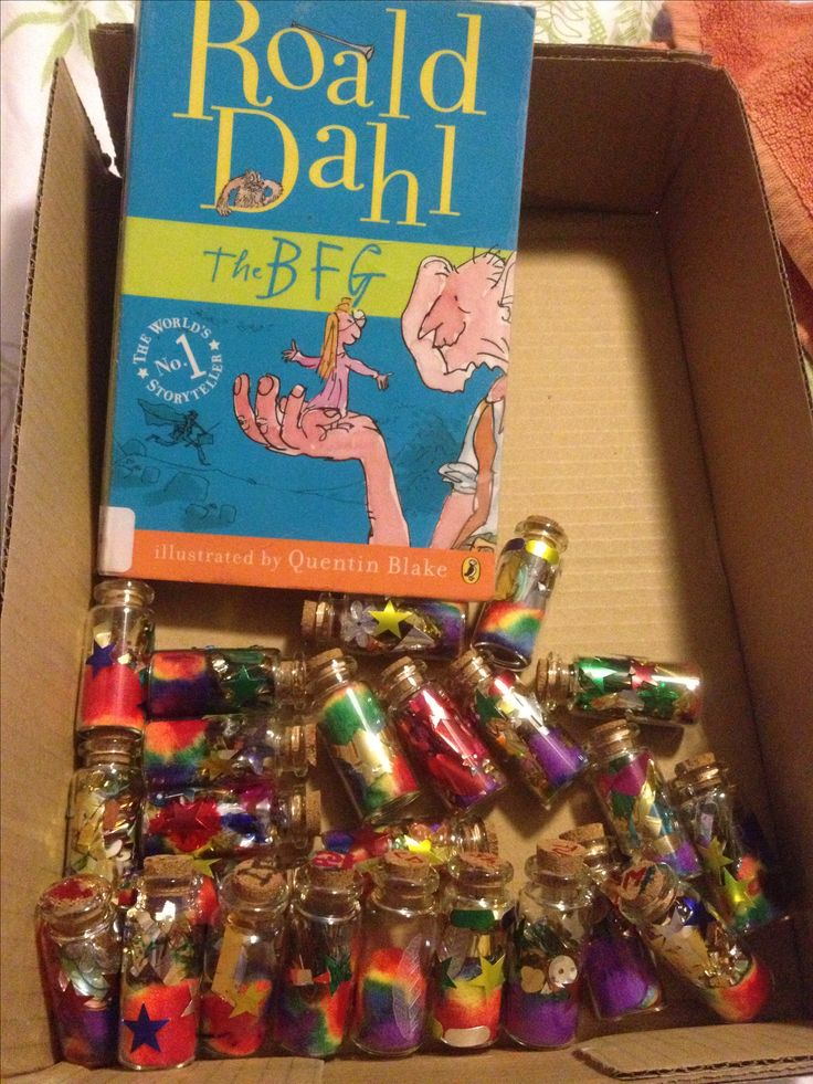 "The BFG dream jars to hang with students' ""golden phizzwizard dream"" descriptions/narratives"