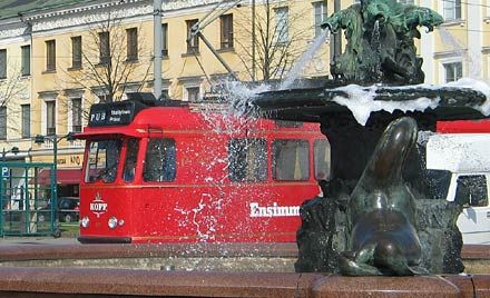See Helsinki's best sights on the red pub tram