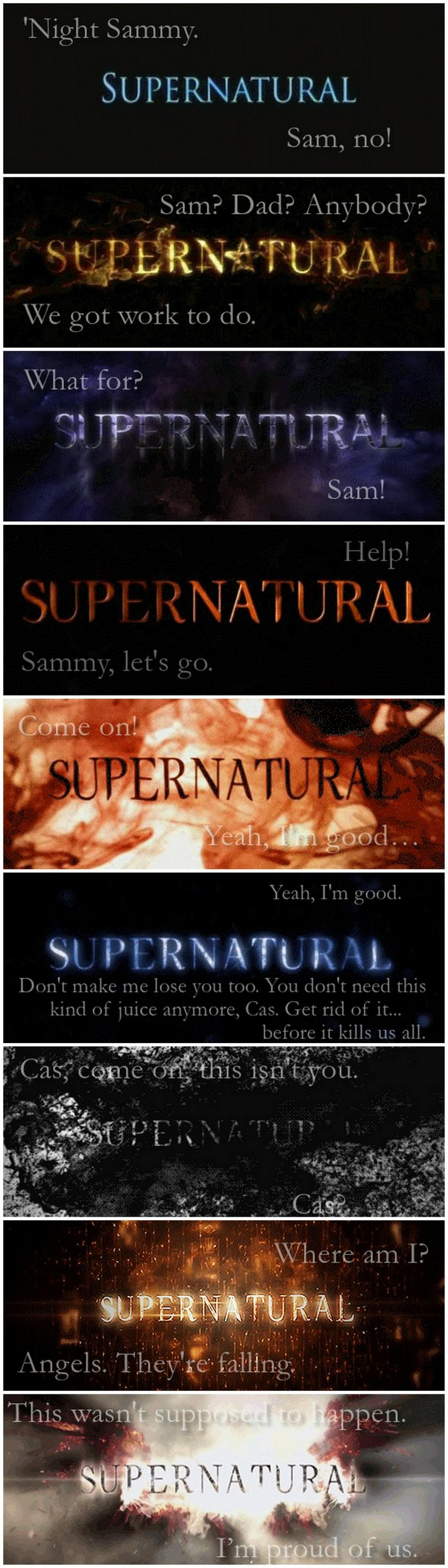 [gifset] Dean's first and last words of every season
