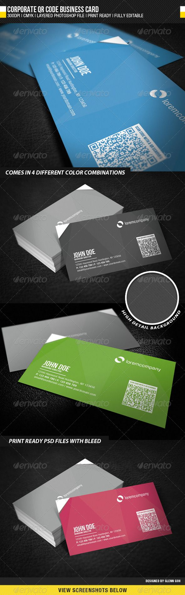 Corporate QR Code Business Card — Photoshop PSD #corporate #professional • Available here → https://graphicriver.net/item/corporate-qr-code-business-card/1954855?ref=pxcr