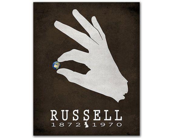 Filosofía occidental de Bertrand Russell historia - mano agarrando planeta tierra regalo literario para escritores decoración libresca autor inglés