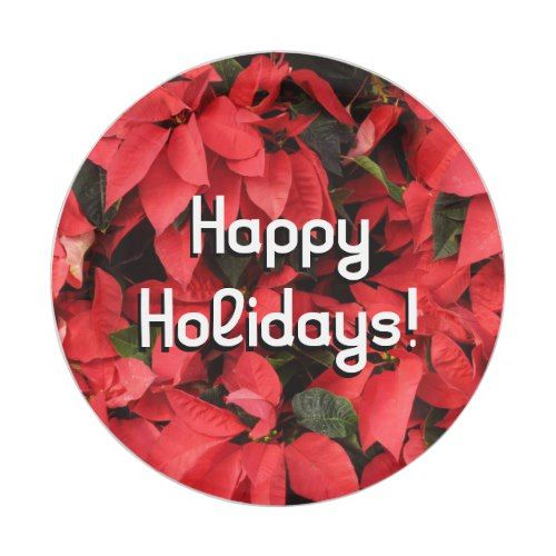 Red Poinsettias II Pretty Christmas Holiday Floral Paper Plate