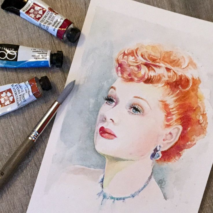 Daily painting: Lucille Ball in watercolour.