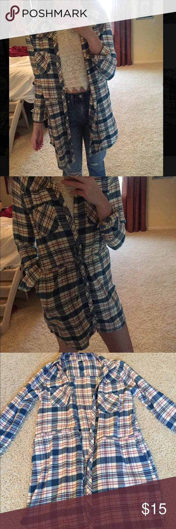 Flannel Dress size medium Super cute flannel material dress/jacket. Can be worn unbuttoned with a tee or buttoned up as a dress. Only worn once or twice. Element Tops Button Down Shirts