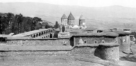 View of St.Karapet church of Mush from 1900-1950 years, Western Armenia / Մշո Ս. Կարապետ վանքը   Արեւմտահայաստանի եւ Արեւմտահայութեան Հարցերու Ուսումնասիրութեան Կեդրոն