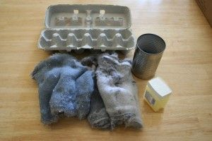 Homemade fire-starters for camping using recycled items. You just need an egg carton, dryer lint, and old crayons or petroleum jelly!
