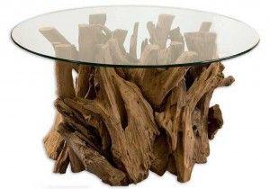 Imagen destacada mesa de café con base de madera y tapa de cristal