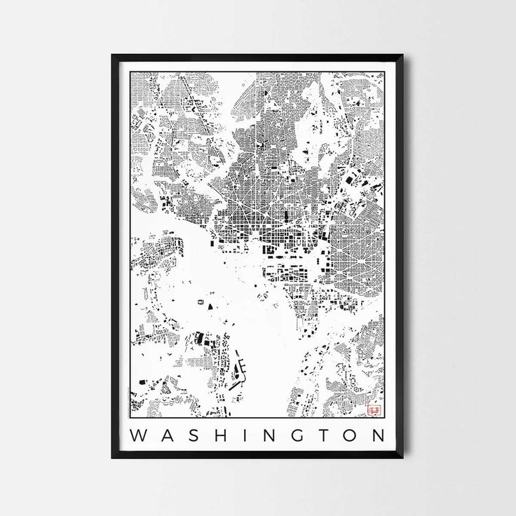 Washington schwarzplan map art city posters. Unique interior decor idea for offices art posters or kitchen art prints.  Minimalist city art gifts for travelers as framed art or canvas wall art. Urban plan map style. print, poster, gift | CityArtPosters.com