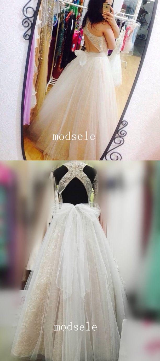 2017 prom dress, long prom dress, white prom dress, prom dress with ribbon, prom dress with open back
